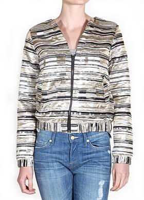 Γυναικείο Μπουφάν NUMPH, σε χρυσό και μαύρο χρώμα με μεταλλιζέ εμφάνιση, φερμουάρ μπροστά, V λαιμόκοψη, δύο τσέπες και λάστιχο στο τελείωμα και στα μανίκια, από 90% polyester και 10% lurex.