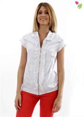 Γυναικείο Μπουφάν WHITE 22 σε λευκό χρώμα, με φερμουάρ, με κοντό μανίκι με βολάν, με λάστιχο στο τελείωμα. Δημιουργημένο από 10% βαμβάκι.