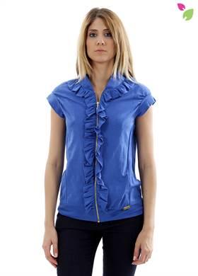 Γυναικείο Μπουφάν WHITE 22 σε μπλε χρώμα, με φερμουάρ, με κοντό μανίκι με βολάν, με λάστιχο στο τελείωμα. Δημιουργημένο από 10% βαμβάκι.