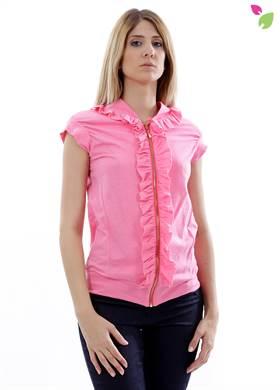 Γυναικείο Μπουφάν WHITE 22 σε ροζ χρώμα, με φερμουάρ, με κοντό μανίκι με βολάν, με λάστιχο στο τελείωμα. Δημιουργημένο από 10% βαμβάκι.