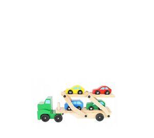 Children's World - Ξύλινο Παιχνίδι Φορτηγό Μεταφοράς Με 4 Αυτοκίνητα Aria Trade
