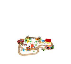 Children's World - Σετ Ξύλινος Συναρμολογούμενος Σιδηρόδρομος 89 Τεμ. Aria Trade