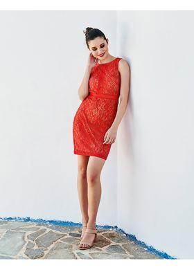 Γυναικείο κοραλί Φόρεμα LYNNE