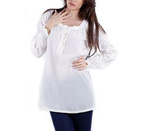 Outlet - Λευκή μακριά γυναικεία Μπλούζα CREAM