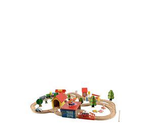 Children's World - Σετ Ξύλινος Συναρμολογούμενος Σιδηρόδρομος 69 τμχ Aria Trade
