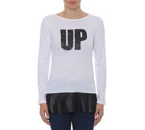 Woman Bazaar - Λευκή Μακρυμάνικη Μπλούζα UP CLOTHING woman bazaar   γυναικείες μπλούζες