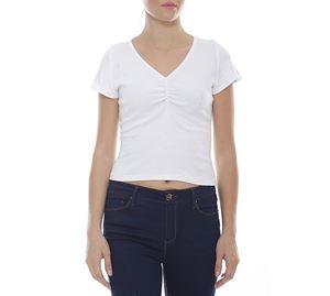 Clearance Alert - Λευκή Κοντομάνικη Μπλούζα JULY TWO clearance alert   γυναικείες μπλούζες