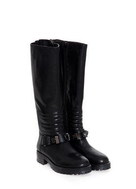 Μαύρες Δερμάτινες Μπότες Nak Μικρό Τακούνι